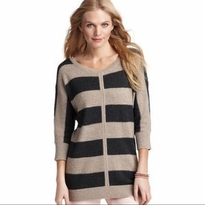 Loft Stripe Colorblock 3/4 Sleeve Tunic Sweater XS